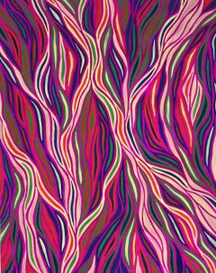 Vivid bright pink optical abstraction by Patricia Fabricant