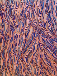Wavy patterned abstraction in complimentary orange and blue - 070621