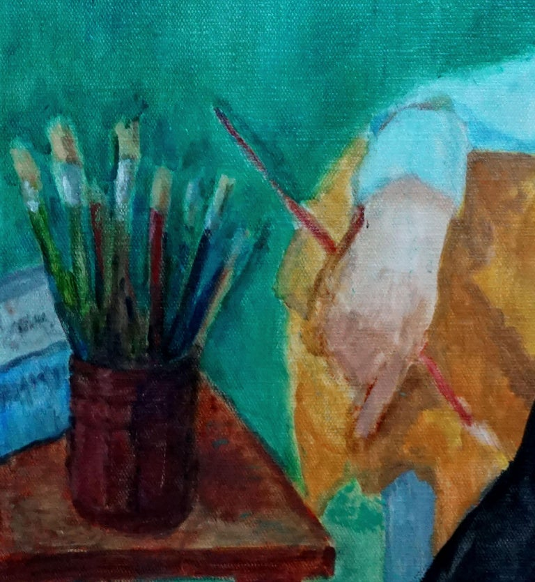 Female Figure with Paintbrushes  - Blue Interior Painting by Patricia Gillfillan