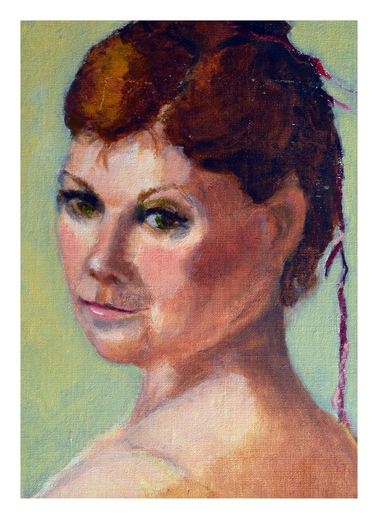 Portrait of a Woman with Green Eyes  - Painting by Patricia Gillfillan