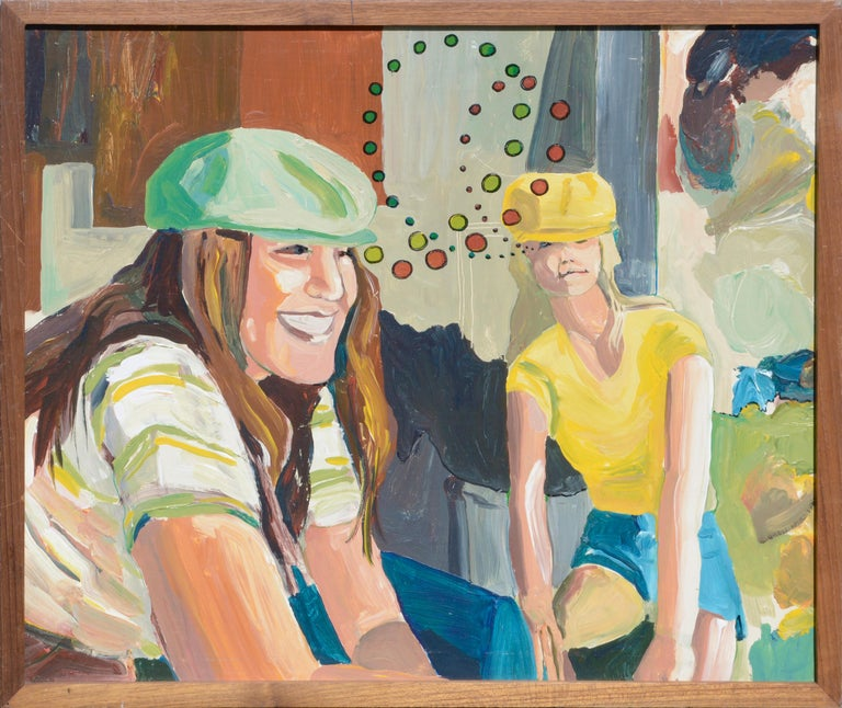 Patricia Gren Hayes Figurative Painting - Cyclists in Love