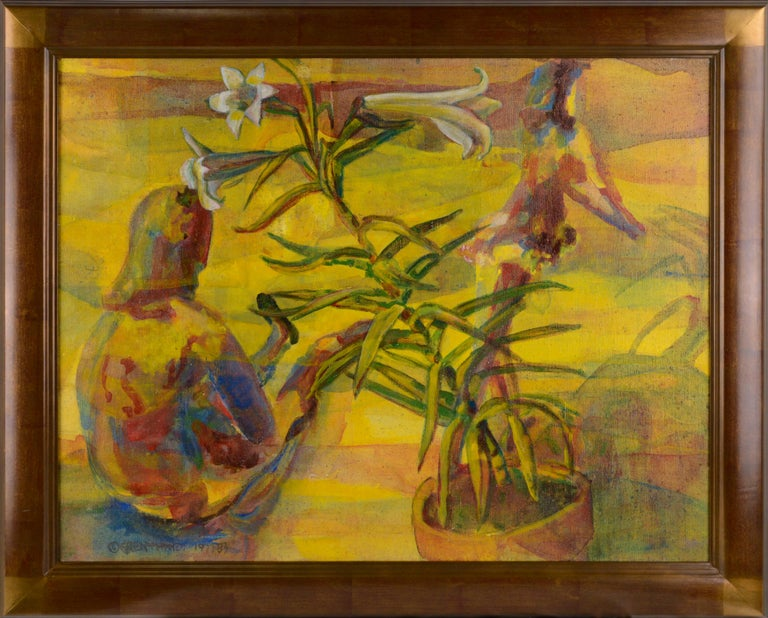 """Patricia Gren Hayes Figurative Painting - """"Easter Lily & Spring Dancers"""" - Figurative Floral Abstract"""