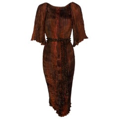 Patricia Lester Copper Brown Silk Fortuny Pleated Dress & Belt, 1980s