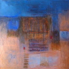 Bronzed Skyline: Contemporary abstract expressionist oil painting