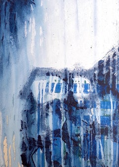 Rocks and Rain   Abstract Expressionist Mixed Media Painting