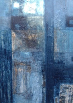Blue Birches. Contemporary Abstract Mixed Media on Canvas Painting