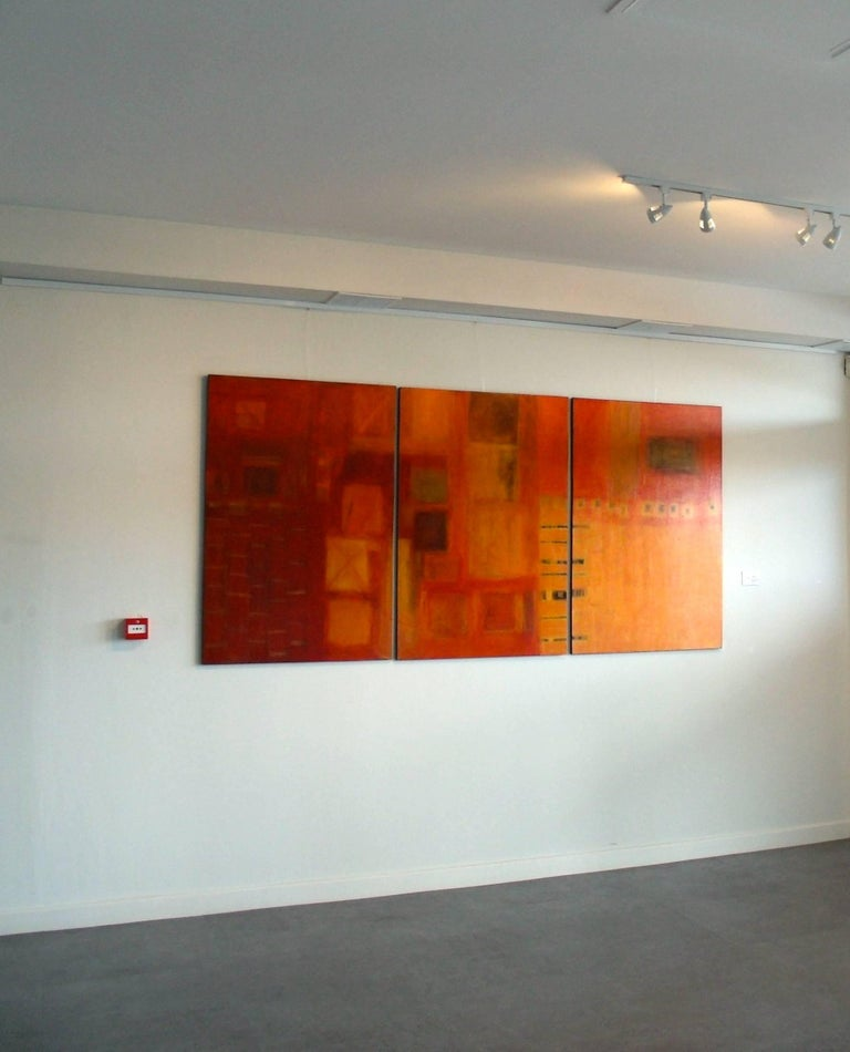 Harmonics. Contemporary Triptych. Oil and Acrylic - Painting by Patricia McParlin