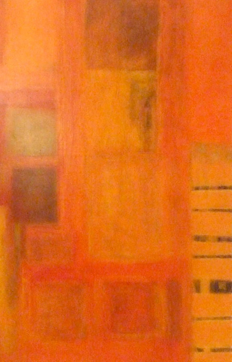 Harmonics. Contemporary Triptych. Oil and Acrylic - Orange Abstract Painting by Patricia McParlin