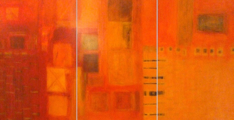 Patricia McParlin Abstract Painting - Harmonics. Contemporary Triptych. Oil and Acrylic
