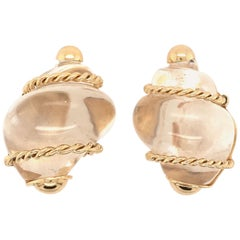 Patricia Schepps Vaill for Seaman Schepps Rock Crystal and Gold Shell Earrings
