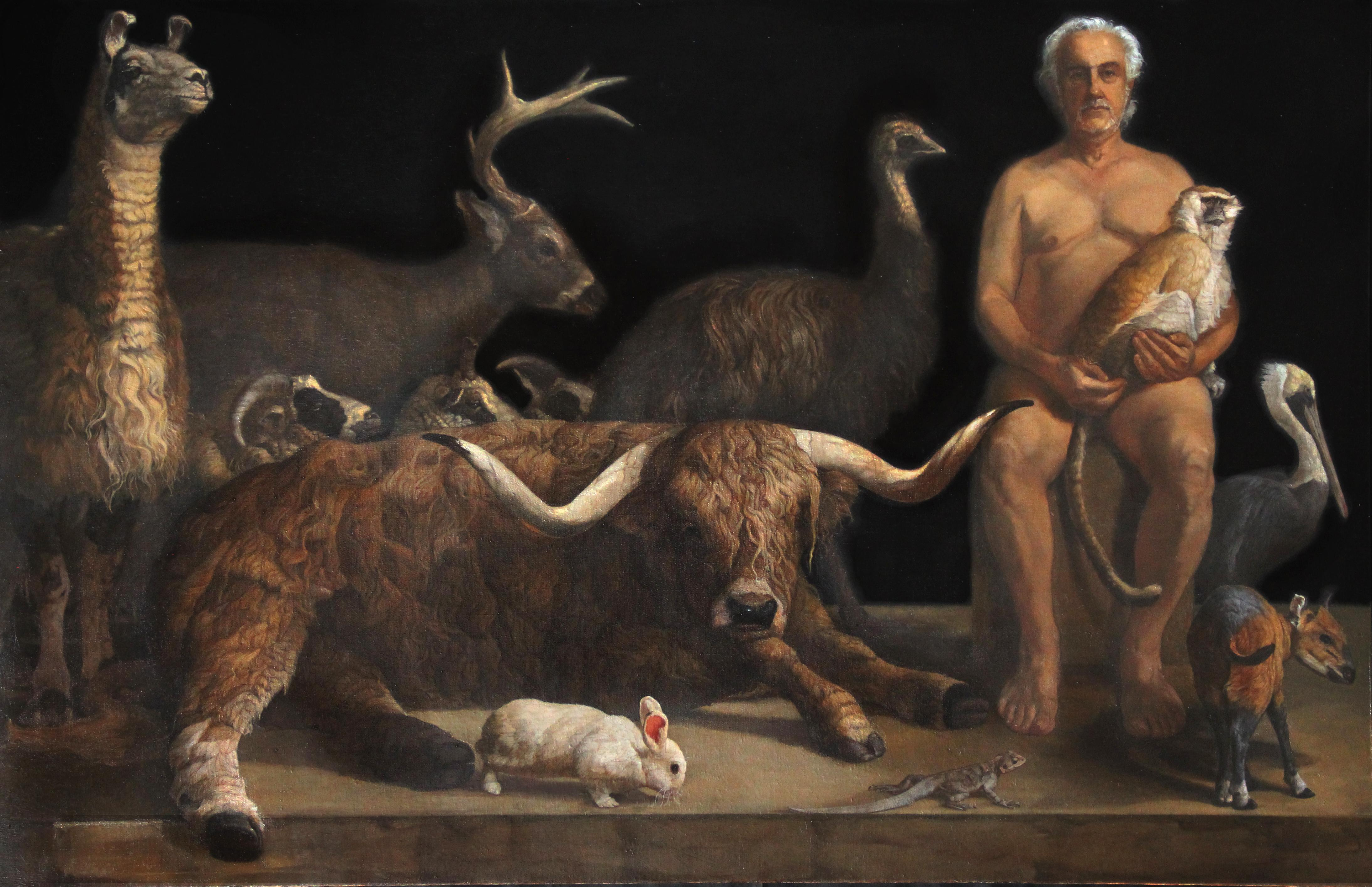 Guardian With Twelve Animals, Figurative, Oil, Contemporary Realist Painting