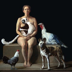 Rescuer With A Lemur, African Wild Dog, Two Rare Poultry