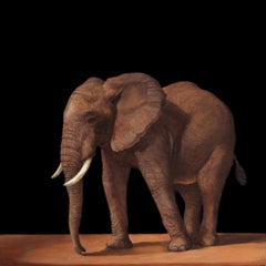 YOUNG AFRICAN ELEPHANT, Realism, Old Master, Animal, Tanzania, Conservation