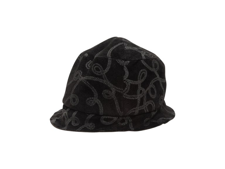 Product Details: Black bucket hat by Patricia Underwood. Tonal loop pattern throughout. 3.25