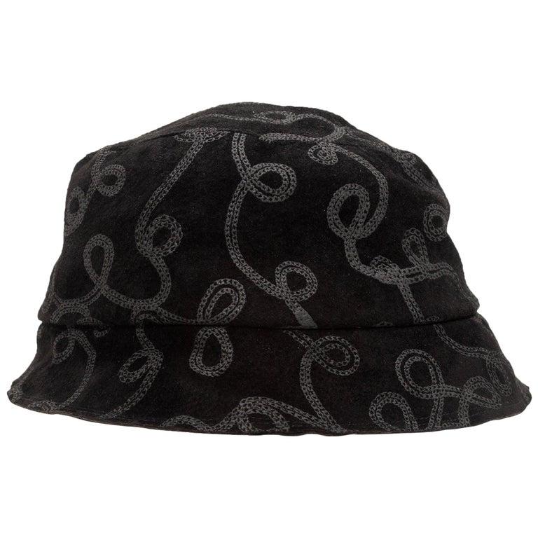 Patricia Underwood Black Patterned Bucket Hat For Sale