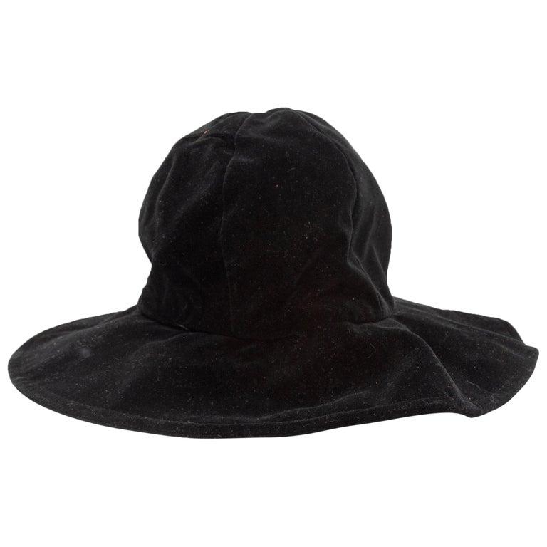 Patricia Underwood Black Too Velvet Bucket Hat For Sale