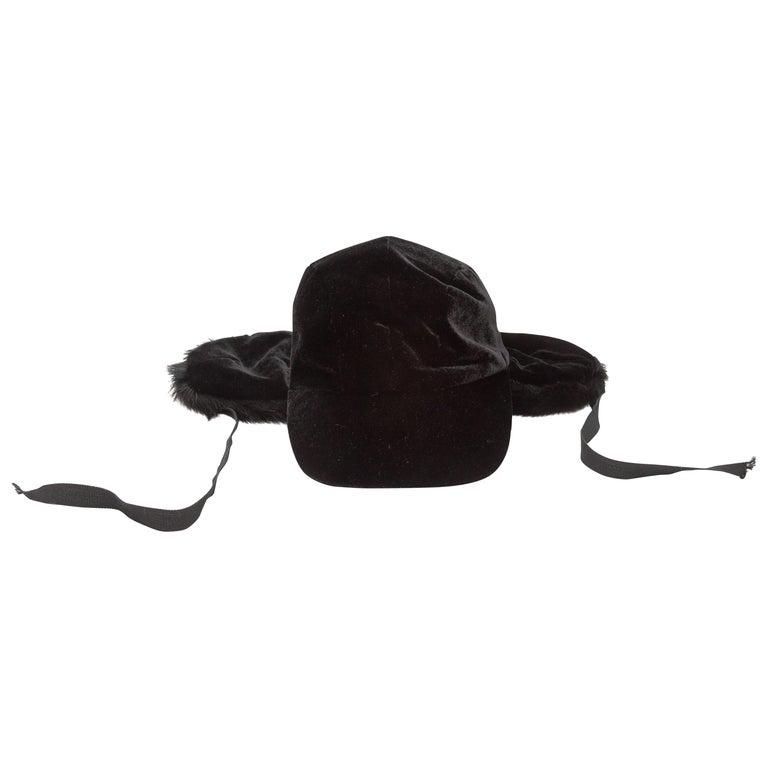 Patricia Underwood Black Velvet & Fur Baseball Cap For Sale