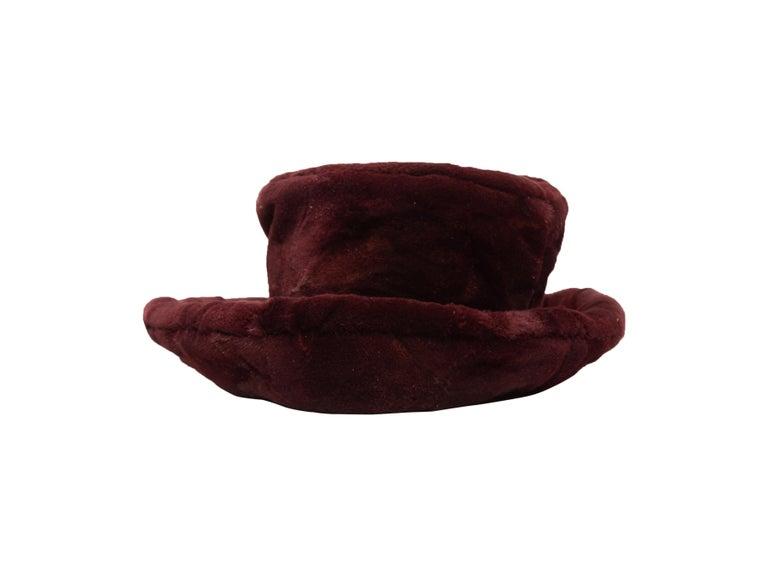 Black Patricia Underwood Burgundy Fur Hat For Sale