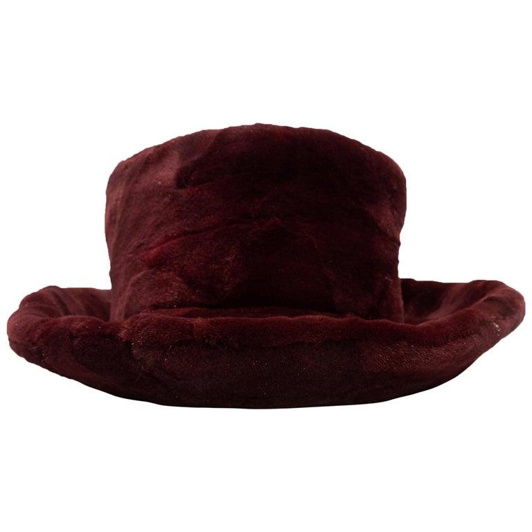 Patricia Underwood Burgundy Fur Hat For Sale
