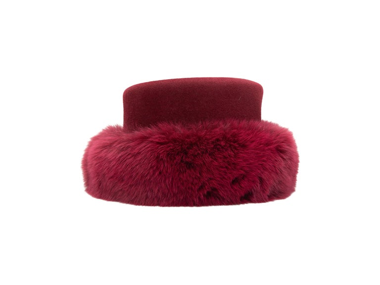 Product Details: Raspberry wool and fur hat by Patricia Underwood. 6
