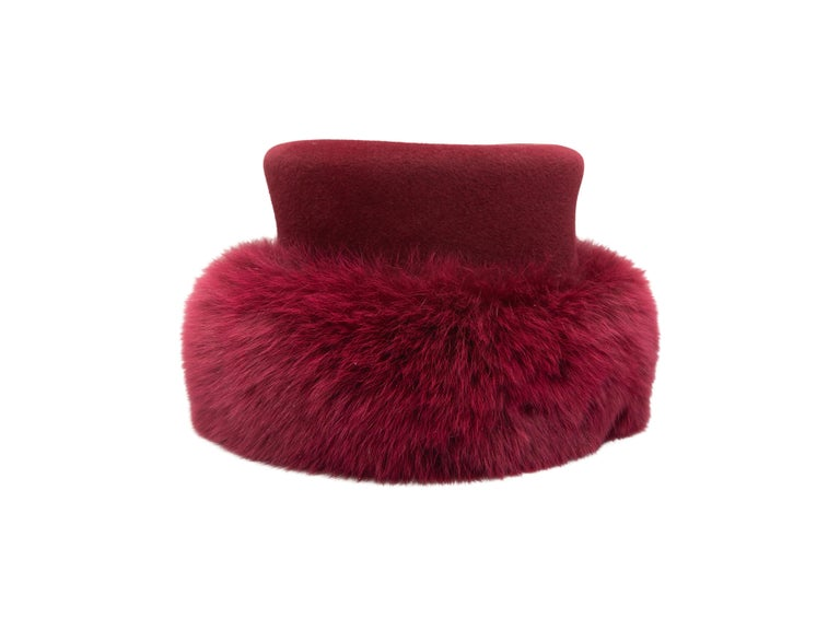 Patricia Underwood Raspberry Wool & Fur Hat In Good Condition For Sale In New York, NY