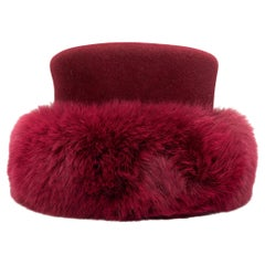 Patricia Underwood Raspberry Wool & Fur Hat