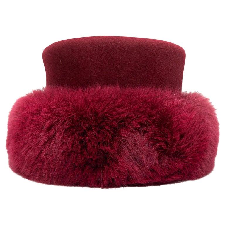 Patricia Underwood Raspberry Wool & Fur Hat For Sale