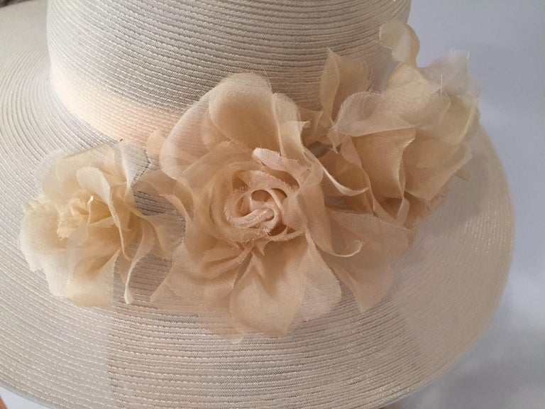 Beige Patricia Underwood Silk Flower Trimmed Wide Brim Hat For Sale