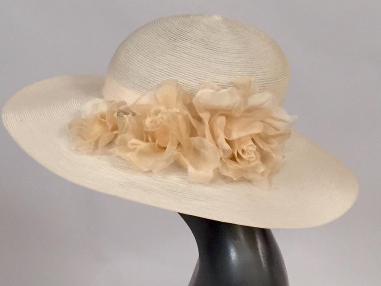 Patricia Underwood Silk Flower Trimmed Wide Brim Hat In Excellent Condition For Sale In New Hope, PA