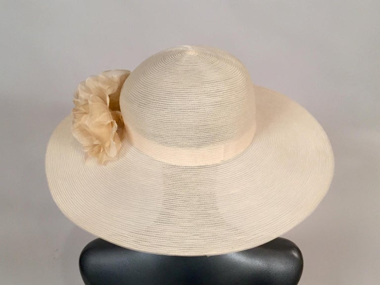 Women's Patricia Underwood Silk Flower Trimmed Wide Brim Hat For Sale