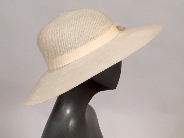 Patricia Underwood Silk Flower Trimmed Wide Brim Hat For Sale 1
