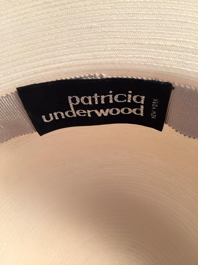 Patricia Underwood Silk Flower Trimmed Wide Brim Hat For Sale 2