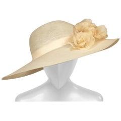 Patricia Underwood Silk Flower Trimmed Wide Brim Hat