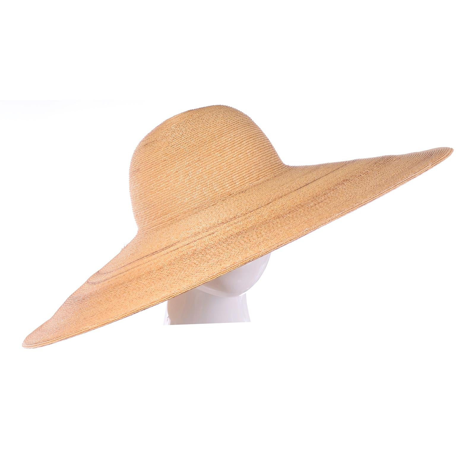 7cf26e03 Patricia Underwood Vintage Wide Brim Natural Woven Straw Hat For Sale at  1stdibs