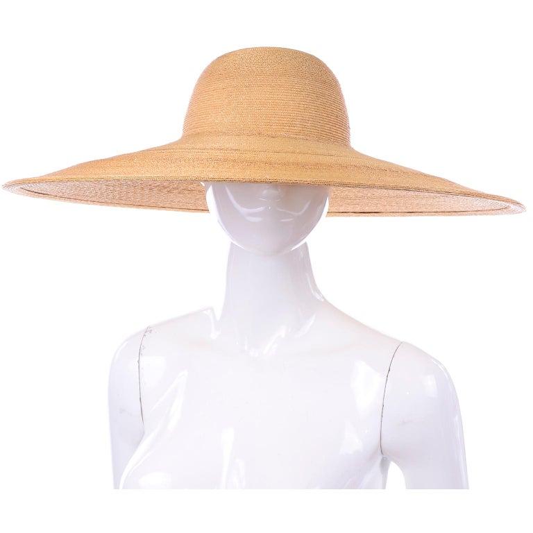 Orange Patricia Underwood Vintage Wide Brim Natural Woven Straw Hat For Sale
