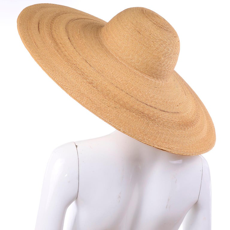 Patricia Underwood Vintage Wide Brim Natural Woven Straw Hat In Excellent Condition For Sale In Portland, OR