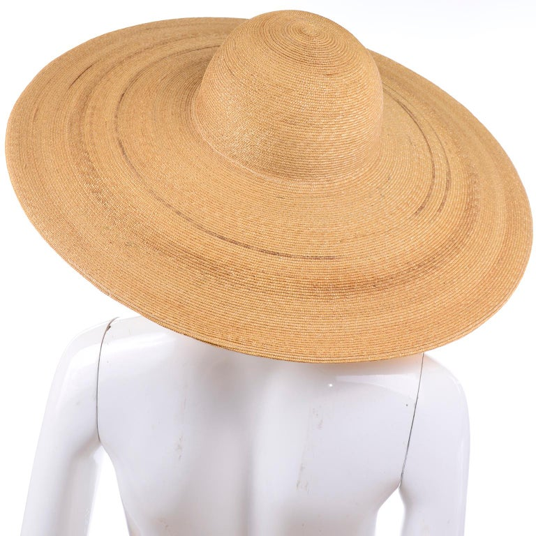 Women's Patricia Underwood Vintage Wide Brim Natural Woven Straw Hat For Sale