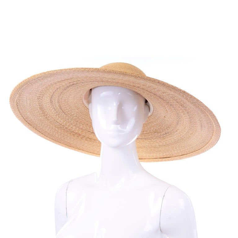 Patricia Underwood Vintage Wide Brim Natural Woven Straw Hat For Sale 1
