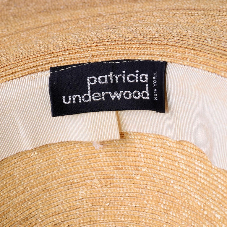 Patricia Underwood Vintage Wide Brim Natural Woven Straw Hat For Sale 2