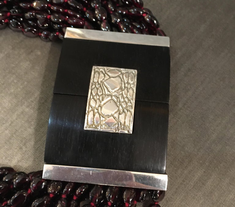 Patricia Van Musulin Multi Strand Garnet, Ebony and Sterling Necklace In Good Condition For Sale In Seattle, WA