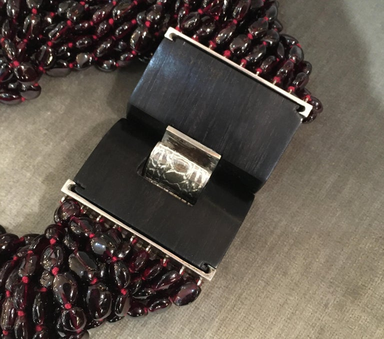 20th Century Patricia Van Musulin Multi Strand Garnet, Ebony and Sterling Necklace For Sale