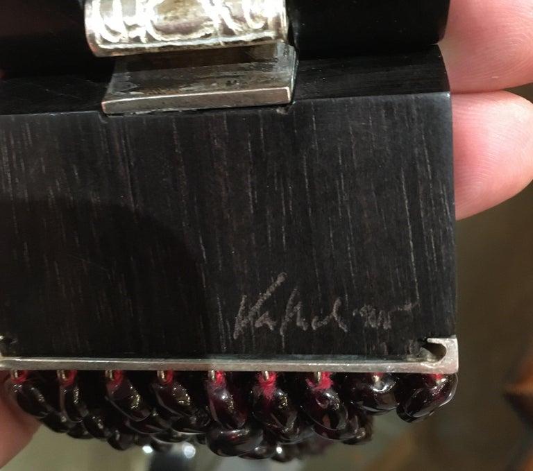 Patricia Van Musulin Multi Strand Garnet, Ebony and Sterling Necklace For Sale 1