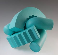 Cog (Teal) by Patricia Volk - Abstract ceramic sculpture, painted clay