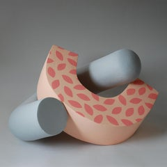 Embrace by Patricia Volk - Abstract ceramic sculpture, painted clay