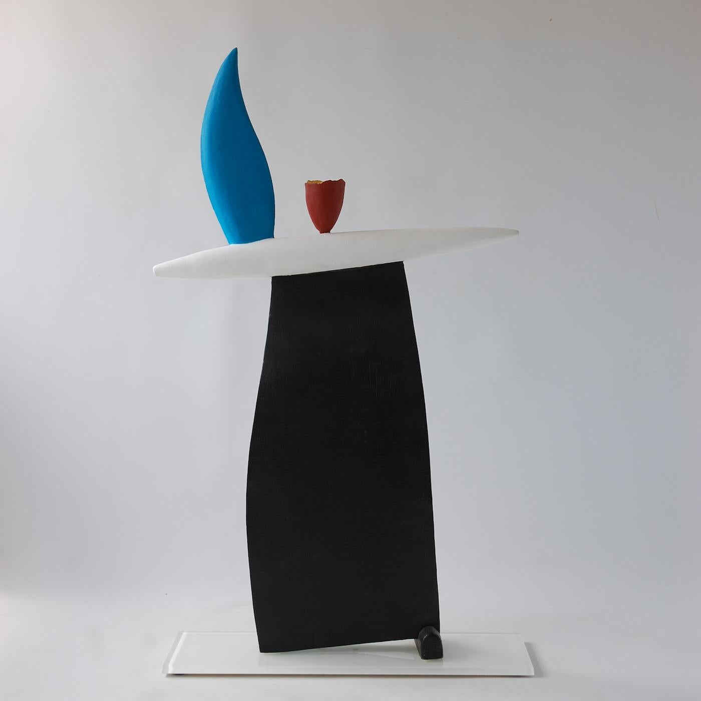 Rising (2) by Patricia Volk - Abstract ceramic sculpture, painted clay