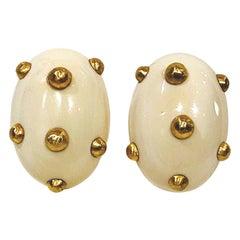 Patricia Von Musulin Large Oval Bone & Gold Vermeil Button Earrings