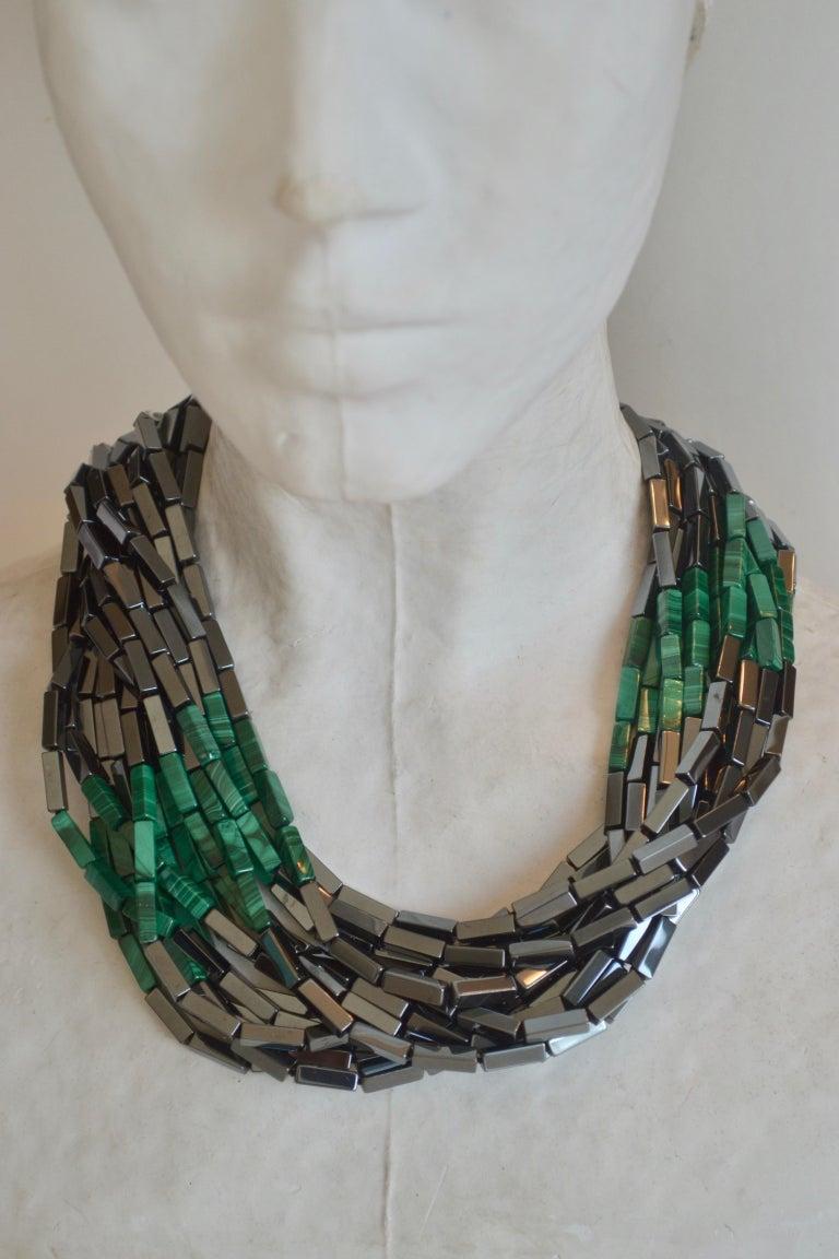 Patricia von Musulin 14 Strand Hematite and Malachite Necklace In New Condition For Sale In Virginia Beach, VA