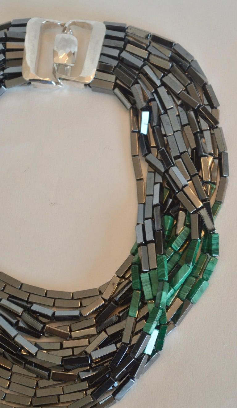 Women's Patricia von Musulin 14 Strand Hematite and Malachite Necklace For Sale