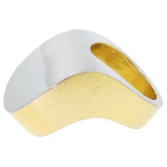 Patricia von Musulin 925 Sterling Silver Large Modern Two-Tone Ring