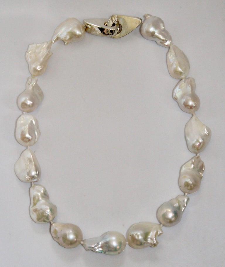 Patricia von Musulin Baroque Pearl and Sterling Silver Necklace In New Condition For Sale In Virginia Beach, VA
